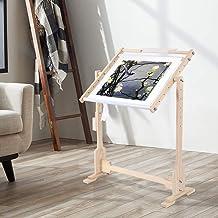 Borduurstandaard, verstelbaar, vloerstandaard, houten frame, voor borduurwerk en naaldwerk, stikframe, S: 60 x 40 x 75 cm