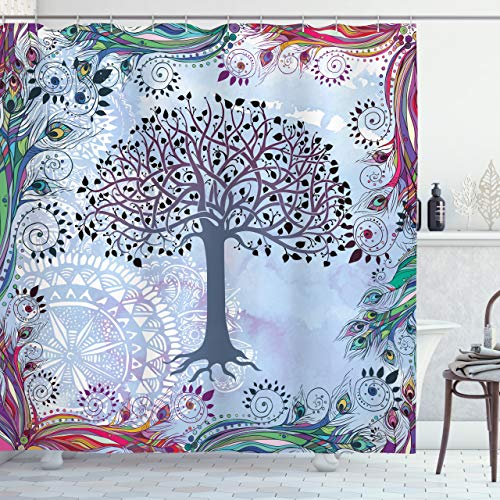 """Ambesonne Nature Shower Curtain, Tree of Life Motif with Peacock Feathers Tribal Vintage Primitive Nature Illustration, Cloth Fabric Bathroom Decor Set with Hooks, 70"""" Long, Bluegrey"""