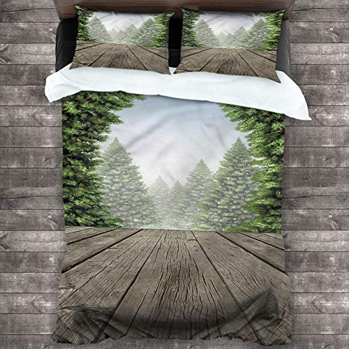 Bedspread Coverlet Set Nature,Festive Season Mother Earth Cover 3 Piece Set (1 Duvet Cover,2 Pillow Shams) Luxury Hypoallergenic Modern Style, Cal King 104'x98'
