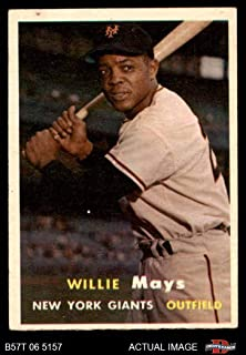 1957 Topps # 10 Willie Mays New York Giants (Baseball Card) Dean's Cards 5 - EX Giants