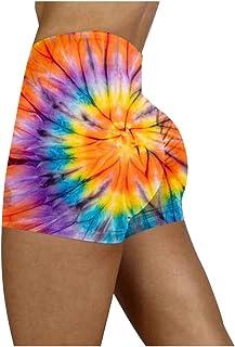 Beishi Womens Sport Shorts, Women's Tie-Dye Workout Summer High Waisted Booty Yoga Running Shorts Leggings