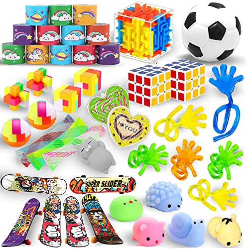39 Pack Party Favors Toys Set, Sensory Fidget Toys, Carnival Prizes and School Classroom Rewards Pinata Filler, Treasure Box for Boys and Girls, Goody Bags for Kids Birthday, Educational Toys For Kids