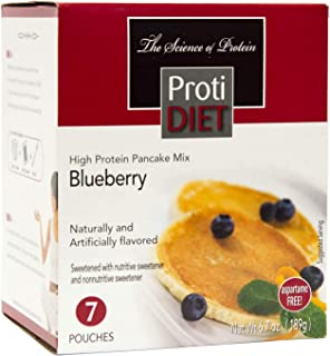 ProtiDiet Pancakes - Blueberry (7/Box) - High Protein 15g - Low Calorie - Low Fat