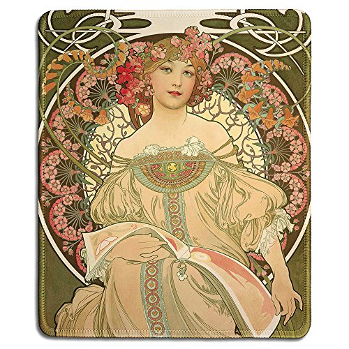 dealzEpic - Art Mousepad - Natural Rubber Mouse Pad with Classic Poster of Champagne Poster by Alphonse Mucha - Stitched Edges - 9.5x7.9 inches