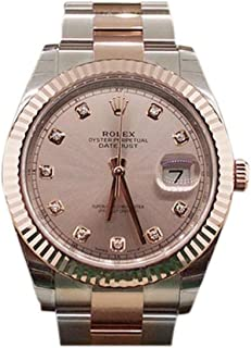 Rolex Datejust Ii 41mm Sundust Diamond Dial Rose Gold And Steel Men's Watch 126331