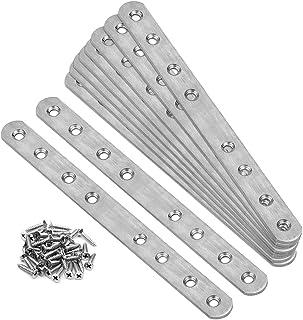 GBGS フラットプレートブラケット ジョイント金具 10個セット 201ステンレス製 8穴 固定修理プレート 245x19mm 厚さ2.9mm 80個ネジ付き 家具の固定板 補強ブラケット 接合金具