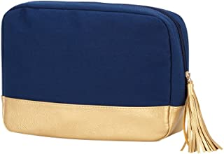 Cabana Cosmetic Bag Zippered Top Pouch with Tassel and Gold Vegan Leather Trim Can be PERSONALIZED (Navy)