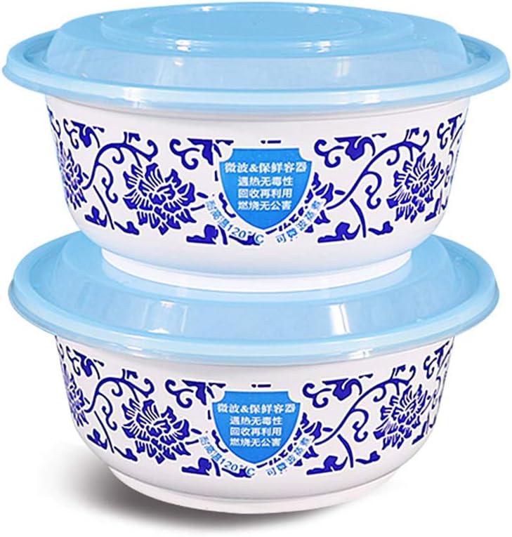 120 × 120 × 50 mm 950 ml de Capacidad Porcelana Azul y Blanca Recipientes de Comida Desechables - Fondo Anti-Quemaduras - Resistente al frío y al Calor - Diseño de Doble Hebilla Caja de Almuerzo