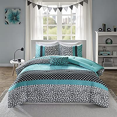 Mi Zone Chloe Comforter Set Full/Queen Size - Teal , Polka Dots, Damask, Leopard – 4 Piece Bed Sets – Ultra Soft Microfiber Teen Bedding For Girls Bedroom