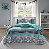 Mi Zone Chloe Comforter Set Full/Queen Size - Teal , Polka Dots, Damask, Leopard – 4 Piece Bed Sets – Ultra Soft Microfiber Teen Bedding For Girls Bedroom