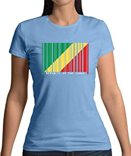 Republic of The Congo Barcode Style Flag - Womens T-Shirt - 13 Colours