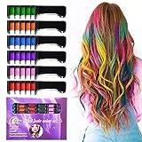 Kalolary 6 Colores Tizas Para el Pelo, Hair Chalk Peine de tiza para el pelo,...
