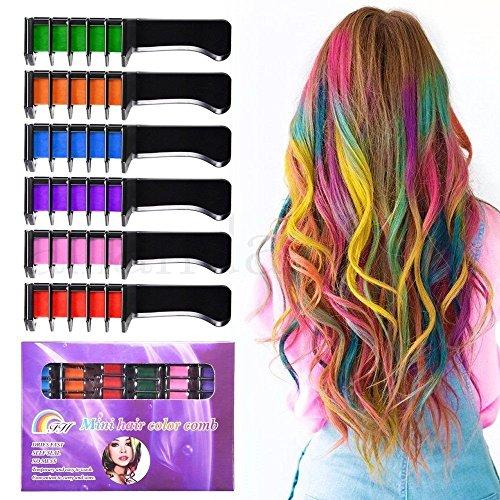 Kalolary 6 Colores Tizas Para el Pelo, Hair Chalk Peine de tiza para el pelo, temporal, no tóxico, para niños, ideal para Navidad, cumpleaños, fiestas, regalos para niñas y niños a partir de 4