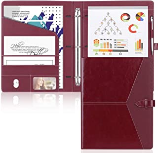 Toplive Padfolio 3 Ring Binder (1'' Round Ring) Business Portfolio Folder for Interview, Conference and Presentation,Wine Red.