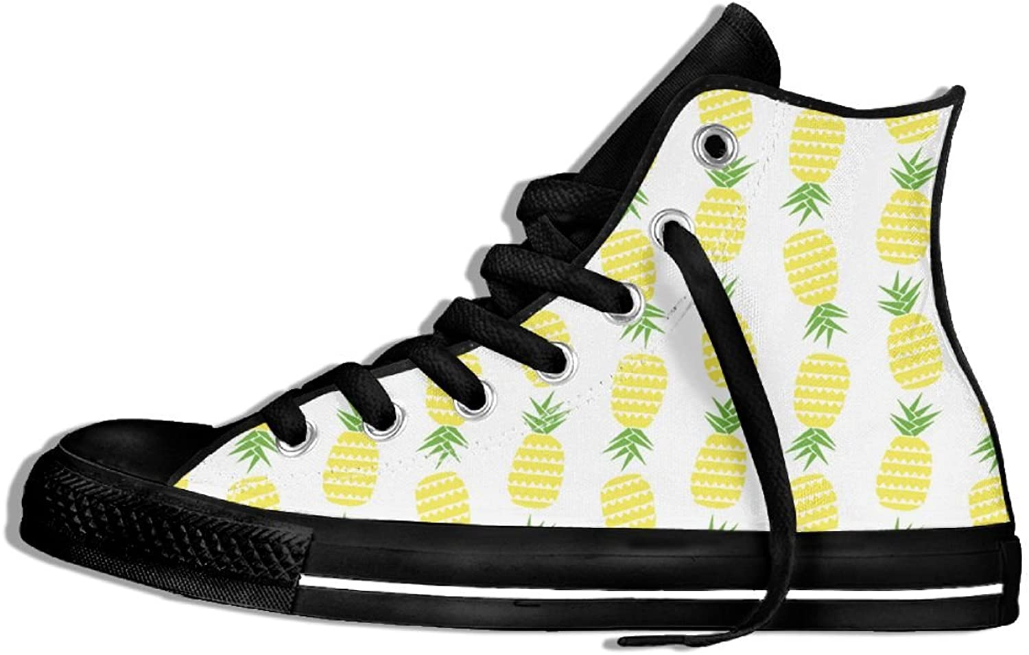 Nice Yellow Pineapple Printed Fashion Woman High Top Sneakers shoes Round Toe Cavans Ankle Booties Casual shoes