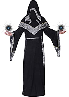 Halloween Sorcerer Robe Costumes for Men, Medieval Dark Mystic Hooded Cape Cloak Priest Robe Cosplay Costume