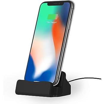 NessKa® Station d'accueil avec câble USB de 2 m pour Apple iPhone X XR XS Max Pro 11 10 8 7 6S 6 Plus 5S 5 Se iPod Touch