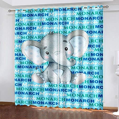 WDQFGE Cortinas Salon Opacas Dibujos Animados de Animales Azules 150x166 cm Cortina Térmica Aislada con Ojales Muy Ancha para Puerta Corredera De Cristal