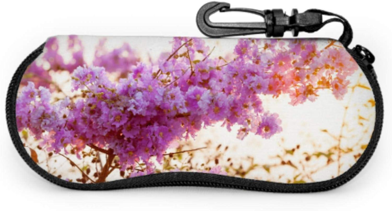 Inthanin Flowers Or Queen Crape Myrtle Hiking Sunglass Case Eyeglass Case Men Light Portable Neoprene Zipper Soft Case Sunglass Case For Women