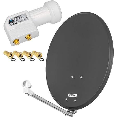Satfinder Antenne UHD digital Sch/üssel Spiegel 80cm F Stecker vergoldet Set 1 Teilnehmer ARLI grau // anthrazit 80 cm HD Sat Anlage Single LNB 15 m Kabel Koaxialkabel 135 db