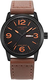 Men's Waterproof Analog Quartz Watch with Day Date Genuine Leather Band Classic Number Dial Black Brown