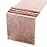 Sequin Table Runners ROSE GOLD- 12 X 108 Inch Glitter ROSE GOLD Table Runner-ROSE GOLD Party Supplies Fabric Decorations For Holiday Christmas Gift Wedding Birthday