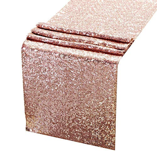 Acrabros Sequin Table Runners Rose Gold- 12 X 108 Inch Glitter Rose Gold Table Runner-Rose Gold Party Supplies Fabric Decorations for Holiday Wedding Birthday