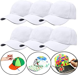 SUSHAFEN 6Pcs White Hand-Painted Baseball Cap Adjustable Strap Plain Blank Baseball Hats to Decorate Creative Graffiti Painting Cap Kids DIY Painted Coloring Crafts DIY Party Hat Supplies