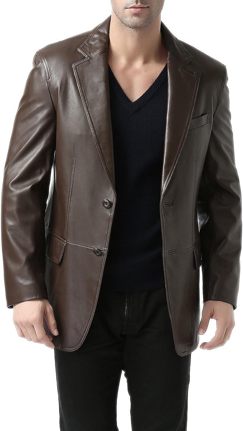 BGSD Men's Grant 2-Button Leather Blazer Lambskin Sport Coat Jacket Espresso Big and Tall 2XLT