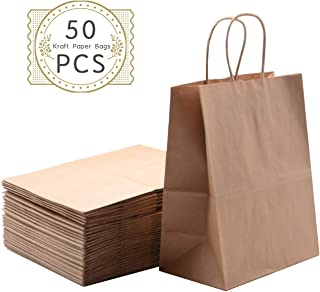 Haiquan 50Pcs Brown Kraft Paper Bags 5.25 x 3.75 x 8 inchs Recycled Bags Bulk with Handles for Shopping, Packaging, Wedding, Retail, Party, Gifts