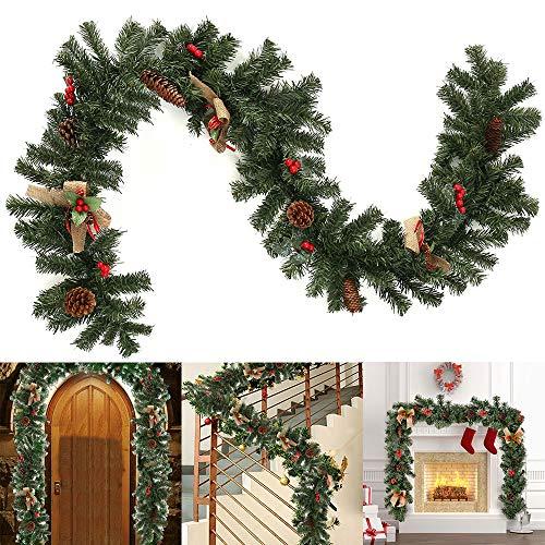 Weihnachtsgirlande Deko 180CM Tannengirlande Künstliche Girlande Weihnachten Dekoriert Grün Künstlich Geschmückt Tannen Girlande mit Zapfen Beeren Sackleinen Dekoration für Kamine Treppen Wand Tür