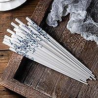 10ペア/ロット青と白の釉薬のセラミック箸が簡単な健康とさまざまな花 チョップスティックス AIWQR