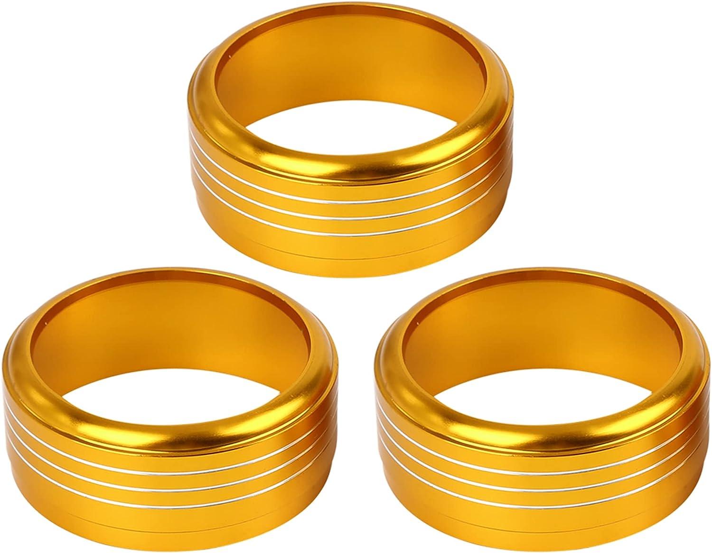 X AUTOHAUX 3 Pcs free Gold Tone Aluminum Climate El Paso Mall Alloy Control Ac Car