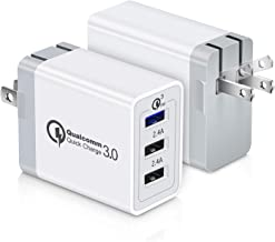 Quick Charge Fast USB Wall Charger, Aupek 2Pack QC 3.0 Travel Foldable Plug 3 Ports Power Adapter Charging Block Cube Compatible Samsung Galaxy S10 S9 S8 Plus S7, Note 9/8, Phone XR/XS/8, LG G8 V30