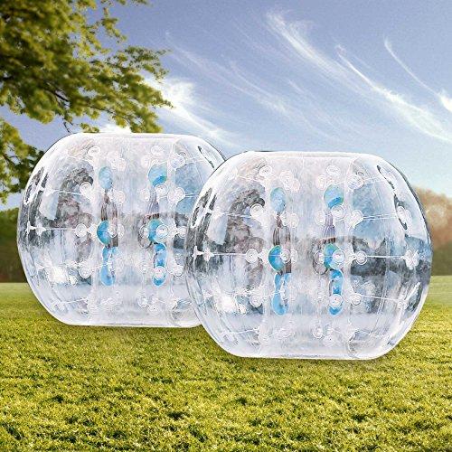 finbfbay aufblasbar Bumper Ball 1,2m/Sandsackset 1,5m 150/Durchmesser Bubble Fußball Blow Up Spielzeug in 5min aufblasbar Bumper Bubble Bälle für Erwachsene oder Kind, 2pcs 1.2M