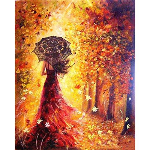 Aoixbcuroc Malen nach Zahlen, Ölgemälde-Set auf Leinwand, Regenschirm, schönes Mädchen, 40,6 x 50,8 cm (ohne Rahmen)