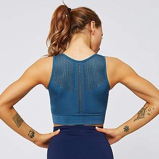 Yoga Clothes Yoga Fitness Breathless Yoga Vest Shock-Free Sports Bra Yoga Pants SYXMSM (Color : Blue, Size : S)