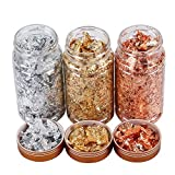PLAZALA Gold Foil Flakes for Resin Tray Molds,3 Bottles Metallic Foil Flakes Leaf for Painting Arts and Crafts,Nail Art (Gold, Silver, Copper Colors)