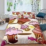 Juego de funda de edredón de café, para tartas, con 2 fundas de almohada, tamaño King, color marrón y rosa