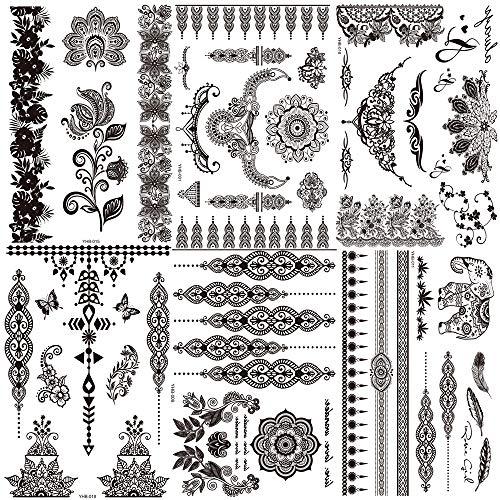Ealicere Packung mit 6 Blatt Tätowierung Aufkleber Spitze Mehndi Temporäre Tattoos Mode Körper Kunst Aufkleber (schwarz)
