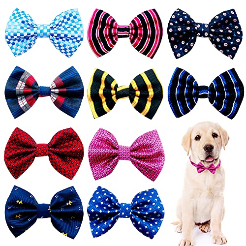 JpGdn 10pcs Small Dog Bowties for Puppy Doggy Medium Boys Girs Plaid Pet Bow Ties Adjustable Bows Party Costumes Grooming Accessories