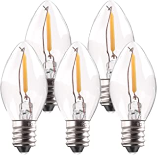 Bombilla LED C7,bombillas de vela de 0.5W Bombilla LED Christmas Village Bombilla LED de 5W Reemplazos incandescentes Base E14 Filamento LED Luz de noche Blanco cálido 2700K No regulable Paquete de 5