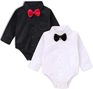 SOBOWO Baby Boys' Dress Shirt Bodysuit, Infant Gentleman Long Sleeve Formal Romper Jumpsuit Wedding Party Outfits Pack of 2