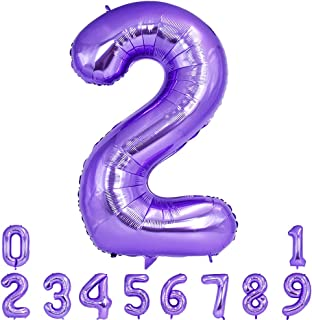 40 Inch Purple Large Number Balloon 0-9(Zero-Nine) Birthday Party Decorations, Foil Mylar Big Number Balloon Digital 2 for Birthday Party, Wedding, Bridal Shower Engagement Photo Shoot, Anniversary