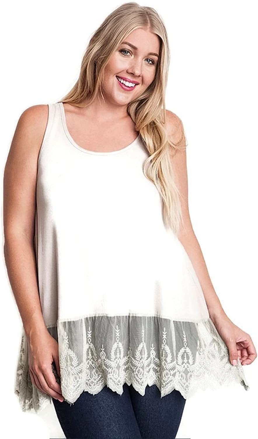 Umgee Women's Ribbed Tank Top Lace Trim Plus Size