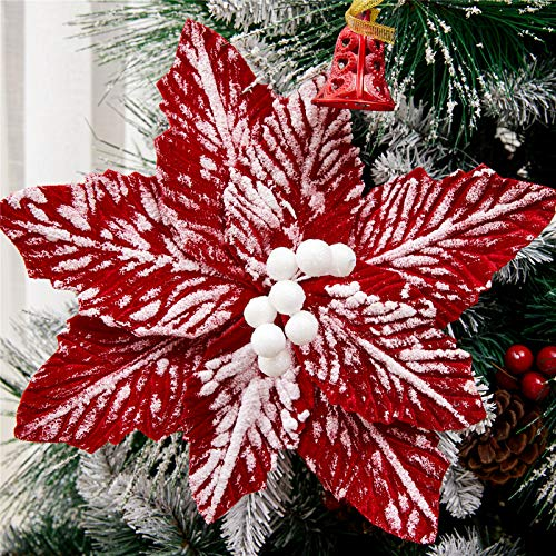 FuleHouzz 10pcs Snow Decorated Large Poinsettia Decorative Christmas Flower Stem for Christmas Tree Wreath Garland, Red/White