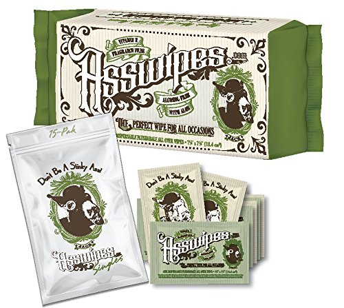 ASSWIPES Pouch and ASSWIPES to Go Single Packets! Everyday Flushable Cleaning Hygiene Wipes with Vitamin E and Aloe Plus 15 Individually Wrapped Asswipes Packets for On The GO!
