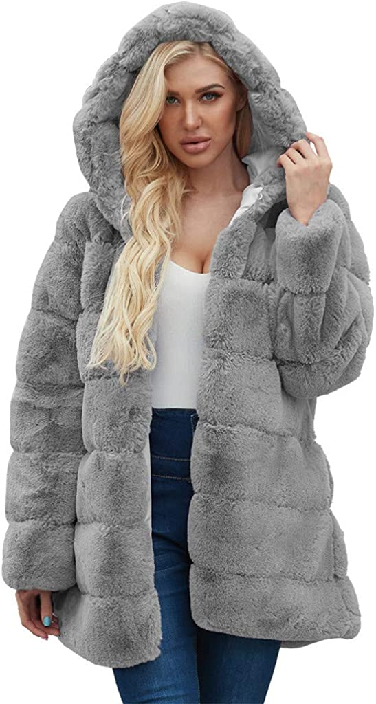 Womens Ladies Warm Faux Fur Coat Jacket Solid Hooded Outerwear Hoodies Outerwear Coat Overcoat Hot Pink