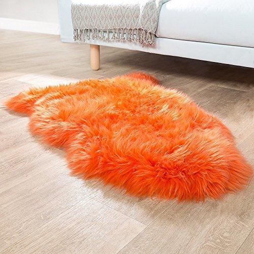 Paco Home Australisches Lammfell Naturfell Bettvorleger Echtes Schaffell In Orange, Grösse:100x68...