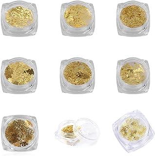 Pegatinas 3D para decoración de uñas con purpurina dorada, mezcladores de lentejuelas, copo de nieve, botellas de metal, b...